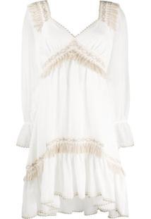 Blumarine Vestido Com Detalhe De Franjas Em Crochê - Branco