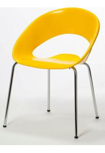 Cadeira One Base Fixa Cromada Cor Amarela - 14447 - Sun House
