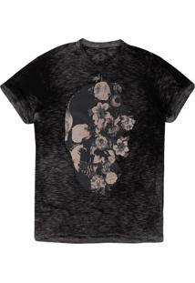 Camiseta Masculina Devorê Caveira Floral Preto