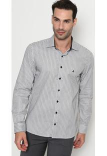 Camisa Slim Fit Listrada Com Bordado - Branca & Preta