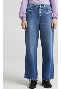e4556ffe5 ... Calça Jeans Feminina Pantalona Mindset Cintura Baixa Com Botões Azul  Médio
