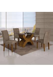 Conjunto Sala De Jantar Mesa Tampo Vidro 120Cm E 4 Cadeiras Olímpia New Leifer Canela/Animale