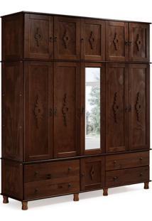Guarda Roupa Casal Com Espelho Colonial I 11 Pt Castanho Acetinado