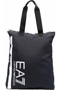 Ea7 Emporio Armani Logo Print Tote - Azul