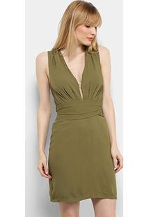 Vestido Il Shin Curto Drapeado - Feminino-Verde Militar