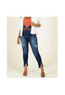 Calça Jeans Feminina Skinny Destroyed Recorte