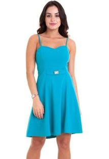 Vestido Alça Kinara Cruzada Nas Costas - Feminino-Azul