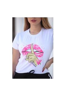 Blusa T-Shirt Camiseta Feminina Estampada - Boca Rosa - Branca