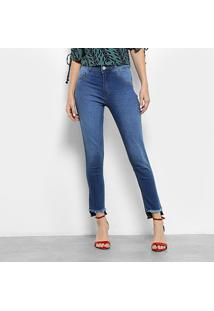 Calça Jeans Skinny Biotipo Estonada Cintura Média Feminina - Feminino-Azul