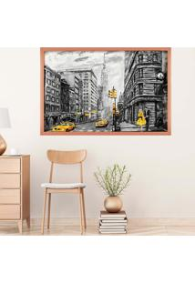 Quadro Love Decor Com Moldura Nova York Rose Metalizado Grande
