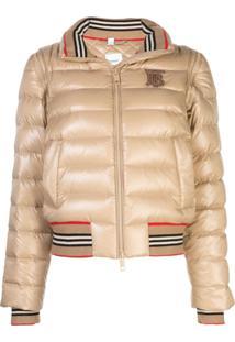 Burberry Detachable Sleeve Icon Stripe Puffer Jacket - Neutro