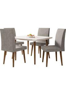 Mesa De Jantar Com 4 Cadeiras Jade Pés Palito Off White Com Pena Caramelo Rv Móveis