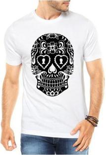 Camiseta Criativa Urbana Caveira Mexicana Cartas - Masculino-Branco