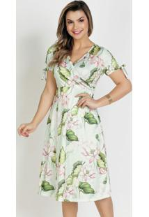 Vestido Floral Verdetranspassado Moda Evangélica