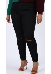 Calça De Sarja Feminina Plus Size Super Skinny Cintura Alta Com Rasgo No Joelho Preta