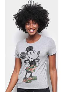 Blusa Cativa Disney Mickey Estonada Feminina - Feminino-Mescla