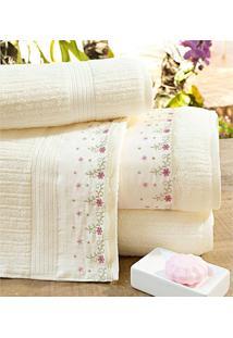Toalhas De Banho Gigante Gardenia Cor Palha E Flores Com 5 Peças - Ruth Sanches