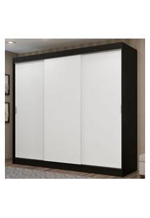 Guarda-Roupa Casal Madesa Kansas 3 Portas De Correr 3 Gavetas Preto/Branco Cor:Preto/Branco