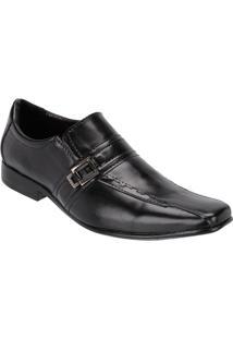 Sapato Social Masculino Fivela Couro Legítimo Leoppé - Masculino-Preto