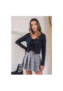 Mini Blusa Pkd Com Cardigan Preto