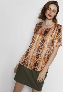 Camiseta Acetinada Animal- Laranja Escuro & Marrom- Simple Life