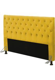 Cabeceira Cama Box Casal King 195Cm Cristal Suede Amarelo - Js Móveis