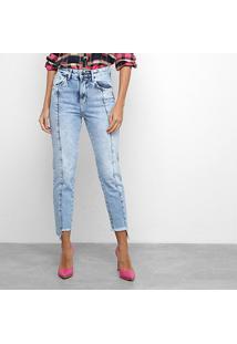 Calça Jeans Disparate Cropped Recortes Feminina - Feminino