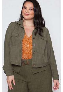 Jaqueta Almaria Plus Size Pianeta Linho Verde Verde