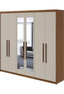Guarda Roupa Áries 6 Portas Com Espelho Rovere Naturale/Off White