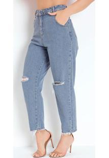 Calça Jeans Slouchy Com Franzido E Bolsos Sawary