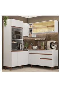 Cozinha Completa De Canto Madesa Reims 332001 Com Armário E Balcáo - Branco Branco