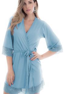 Robe Feminino Em Microfibra Azul Diário Íntimo - Tricae