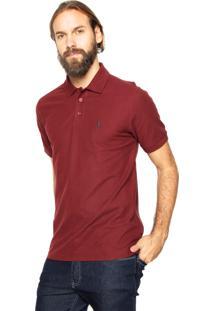 Camisa Polo Aleatory Reta Logo Vinho