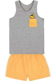 Pijama Feminino Em Malha De Algodão Snoopy E Hering