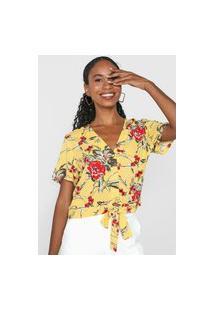 Blusa Vero Moda Floral Amarração Amarela