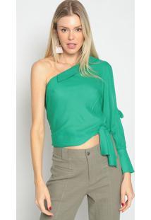 Blusa Ombro ÚNico Texturizada- Verde- Skunkskunk