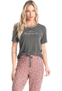 Pijama Longo Manga Curta Estampado Diana