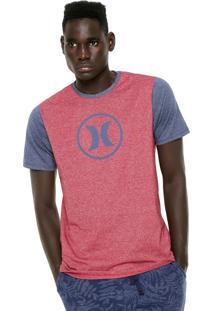 Camiseta Hurley Estampada Vermelha Cinza bd05cecef58