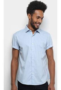 Camisa Manga Curta Ellus Tricoline Masculina - Masculino-Azul