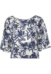Blusa Cropped Dimy Floral Bege/Azul-Marinho