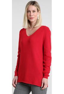 Suéter Feminino Em Tricô Canelado Decote V Vermelho