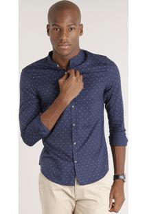 Camisa Masculina Slim Estampada Com Gola Padre Manga Longa Azul Marinho