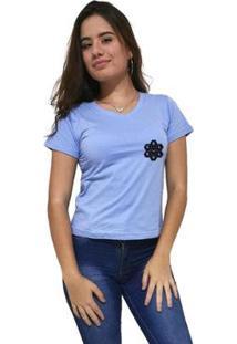 Camiseta Gola V Cellos Vertical Signature Premium Feminina - Feminino-Azul Claro