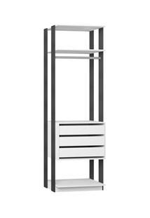 Guarda Roupa Closet Clothes 1004 3 Gavetas Branco/Espresso - Be Mobili