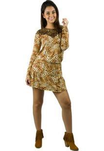 Vestido Banna Hanna Visco Com Renda Estampado Onça - Feminino-Onça