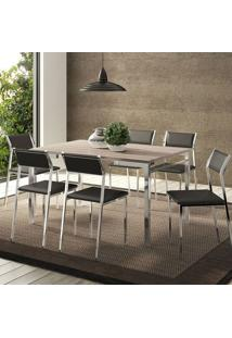 Mesa 1526 Nogueira Cromada Com 6 Cadeiras 1709 Preta Carraro