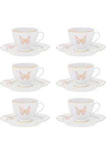 Conjunto 6 Xícaras Grandes Com Pires Oxford Soleil Encantada Porcelana