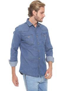 Camisa Jeans Colcci Reta Classic Azul