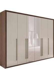 Guarda-Roupa Casal Com Espelho Reali New 6 Pt 6 Gv Imbuia E Off White