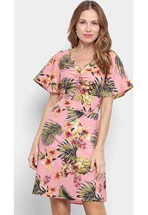 Vestido Curto Lily Fashion Floral Manga Curta Amarração Costas - Feminino-Rosa